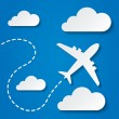 Paper flying plane in clouds. Travel background. — Stock Photo