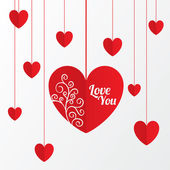 Paper hearts Valentines day card with pattern — Stock Photo