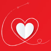 White paper heart with arrow path. Valentines day. — Stock Photo