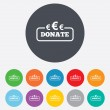 Stock Vector: Donate sign icon. Euro eur symbol.