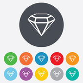 Diamond sign icon. Jewelry symbol. Gem stone. — Stock Vector