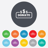 Donate sign icon. Dollar usd symbol. — Stock Vector
