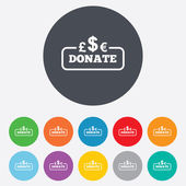Donate sign icon. Multicurrency symbol. — 图库矢量图片