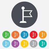 Icono de signo de puntero de bandera. símbolo de marcador. — Vector de stock