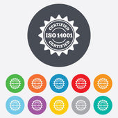 ISO 14001 certified sign. Certification stamp. — Stockvector