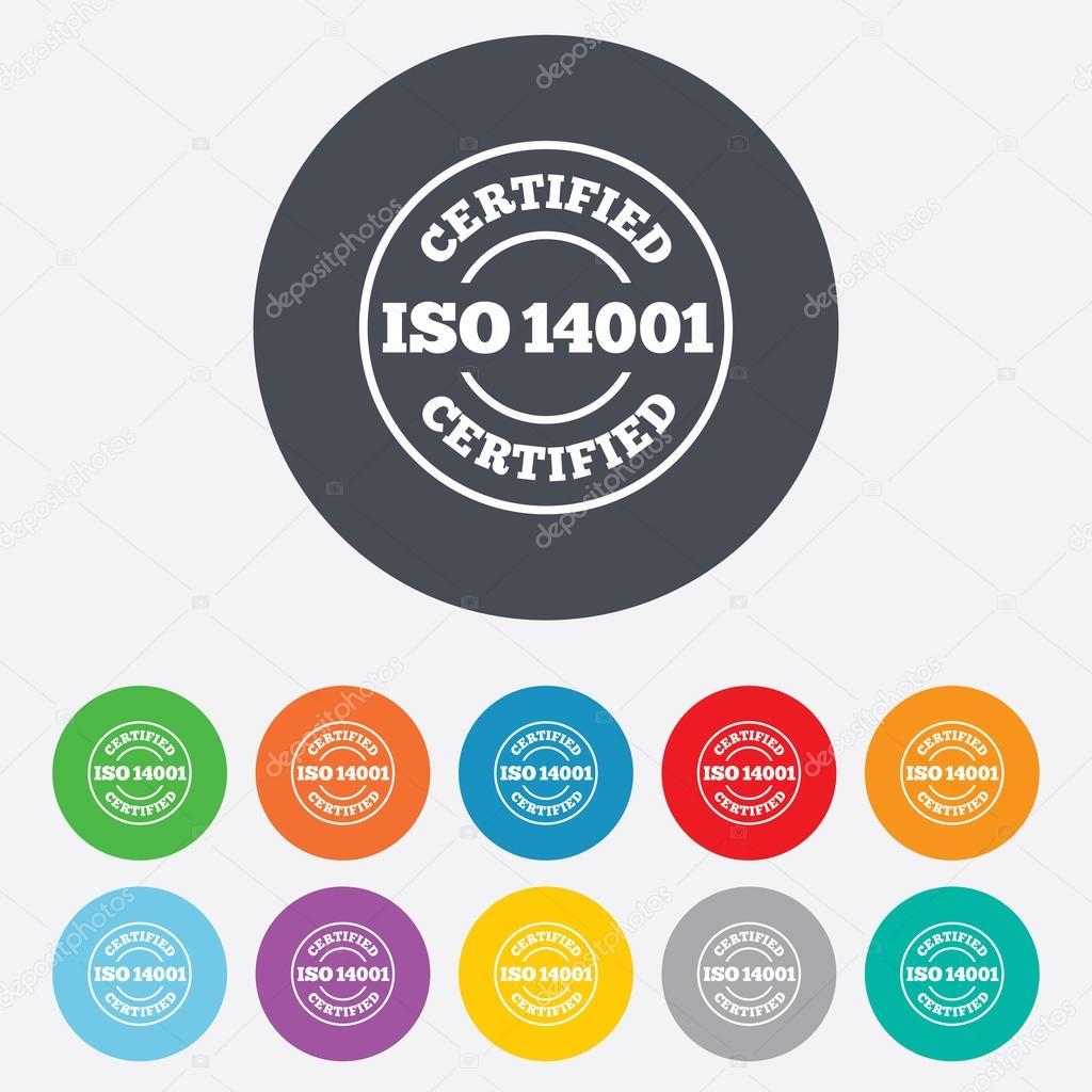 iso 14001 认证的标志图标.认证印章.圆的七彩 11 按钮.
