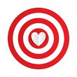 Stock Vector: Paper heart in center of darts target aim.