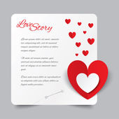 Red paper heart Valentines day card. Love story. — Stockvector