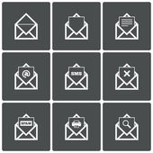 Mail icons. Mail search symbol. Print. Spam. — Vector de stock