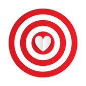 Paper heart in the center of darts target aim. — Stock Vector