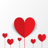 Paper hearts Valentines day card. Flowers concept. — Stock Photo