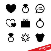 Love story flat icon. Wedding day. Valentines day. — Stock Photo