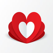 Paper heart Valentines day card. Flower concept. — Stock Photo