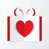 Red paper heart in gift box. Valentines day card. — Stock Photo