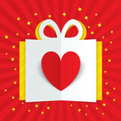 Paper heart in gift box with yellow flare, stars — Stock Photo