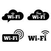 Wifi icons. Wifi symbols. Wireless cloud icons. — Stok fotoğraf