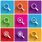 Zoom icons. Search symbols. Magnifier Glass. — Stock Photo