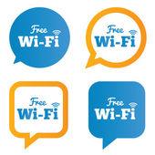 Wifi speech bubbles. Free wifi symbols. Wireless. — ストック写真