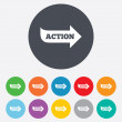 Action sign icon. Motivation button with arrow. — Stock Photo #39681495