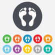 Human footprint sign icon. Barefoot symbol. — Stock Photo #39681943