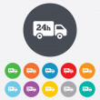 Stock Photo: 24 hours delivery service. Cargo truck symbol.