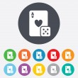 Casino sign icon. Playing card with dice symbol — Stock Photo