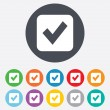 Check mark sign icon. Checkbox button. — ストック写真