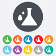 Chemistry sign icon. Bulb symbol with drops. — Stock Photo #39682431