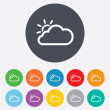 Stock Photo: Cloud and sun sign icon. Weather symbol.