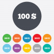 100 Dollars sign icon. USD currency symbol. — Stock Photo #39684127