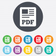 PDF file document icon. Download pdf button. — Stock Photo