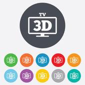 3d icono de signo tv. 3d símbolo televisor. — Foto de Stock