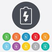 バッテリ充電の記号のアイコン。稲妻のシンボル. — ストック写真