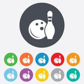 Bowling oyunu işareti simgesi. pin skittle topla. — Stok fotoğraf