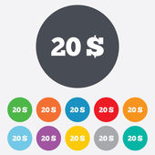 20 Dollars sign icon. USD currency symbol. — Stock Photo