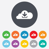 Download from cloud icon. Upload button. — Stock Photo