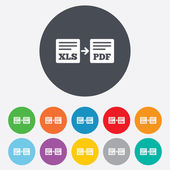 Export XLS to PDF icon. File document symbol. — Stock Photo