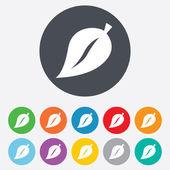 Leaf sign icon. Fresh product symbol. — Stock Photo