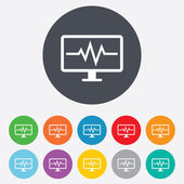 Cardiogram monitoring sign icon. Heart beats. — Stock Photo
