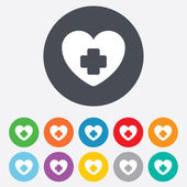 Médica ícone sinal de coração. cruz símbolo. — Fotografia Stock