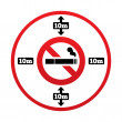 No smoking 10m distance sign. Stop smoking. — Stock Vector