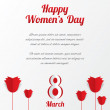 8 March Women's Day card with roses and text. — Stock Vector