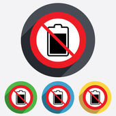 No Battery level sign icon. Electricity symbol. — Stock Vector