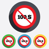 No 100 Dollars sign icon. USD currency symbol. — Stock Vector