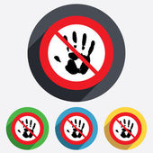 Do not touch. Hand print sign icon. Stop symbol. — Stock Vector