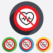 Not overwork. Heartbeat sign icon. Cardiogram. — Stockvektor