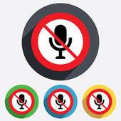 No Microphone icon. Speaker symbol. Live music. — Stock Vector