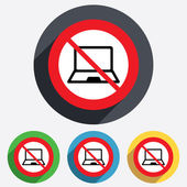 No Laptop sign icon. Notebook pc symbol. — Stock Vector