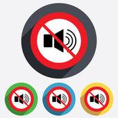 Speaker volume sign icon. No Sound symbol. — Vector de stock