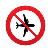 No Airplane sign. Plane symbol. Travel icon. — Stock Vector